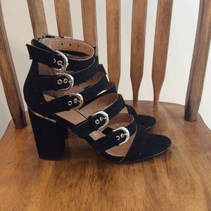 Fashion Nova Black Rock With It Heels Sz 10